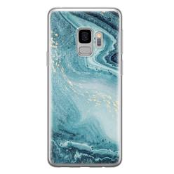 Samsung Galaxy S9 siliconen hoesje - Marmer blauw