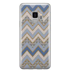 Leuke Telefoonhoesjes Samsung Galaxy S9 siliconen hoesje - Retro zigzag