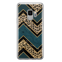 Leuke Telefoonhoesjes Samsung Galaxy S9 siliconen hoesje - Luipaard zigzag