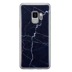 Leuke Telefoonhoesjes Samsung Galaxy S9 siliconen hoesje - Marmer navy blauw