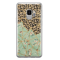 Samsung Galaxy S9 siliconen hoesje - Luipaard flower print