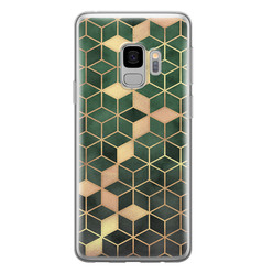 Samsung Galaxy S9 siliconen hoesje - Green cubes