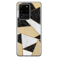 Samsung Galaxy S20 Ultra siliconen hoesje - Goud abstract