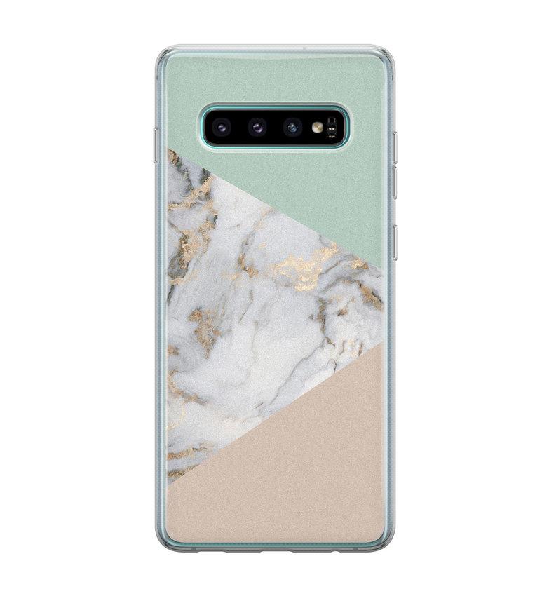 Samsung Galaxy S10 siliconen hoesje - Marmer pastel mix