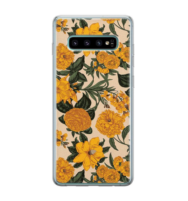 Samsung Galaxy S10 siliconen hoesje - Retro flowers