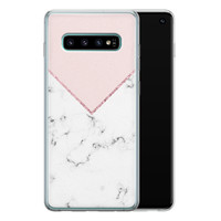 Samsung Galaxy S10 siliconen hoesje - Marmer roze grijs