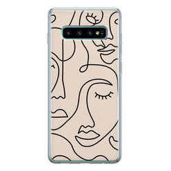 Samsung Galaxy S10 siliconen hoesje - Abstract gezicht lijnen