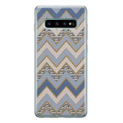Leuke Telefoonhoesjes Samsung Galaxy S10 siliconen hoesje - Retro zigzag