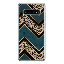 Samsung Galaxy S10 siliconen hoesje - Luipaard zigzag