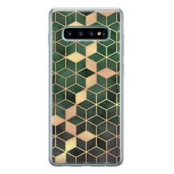 Leuke Telefoonhoesjes Samsung Galaxy S10 siliconen hoesje - Green cubes