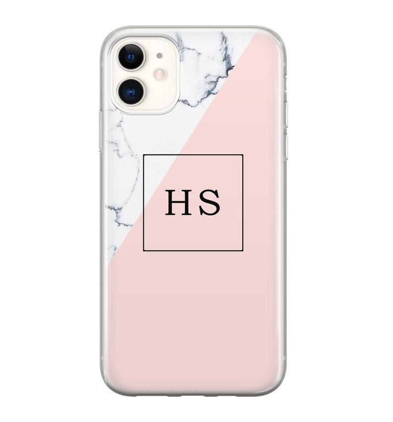 iPhone 11 siliconen hoesje ontwerpen - Marmer roze grijs