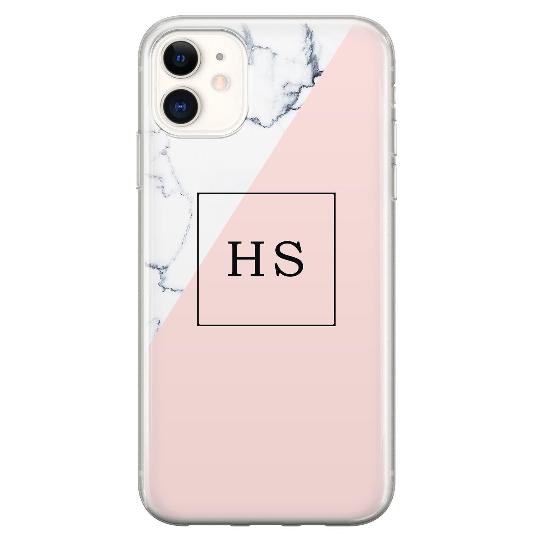 Leuke Telefoonhoesjes iPhone 11 siliconen hoesje ontwerpen - Marmer roze grijs