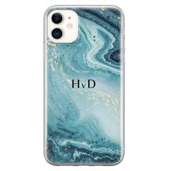 iPhone 11 siliconen hoesje ontwerpen - Marmer blauw