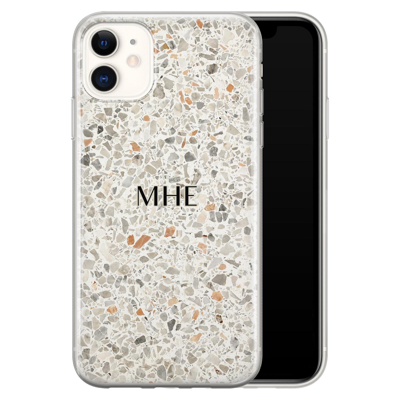Leuke Telefoonhoesjes iPhone 11 siliconen hoesje ontwerpen - Terrazzo bruin