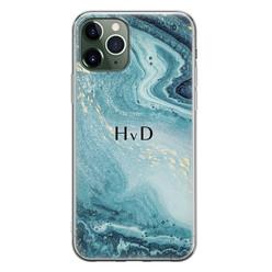 iPhone 11 Pro siliconen hoesje ontwerpen - Marmer blauw