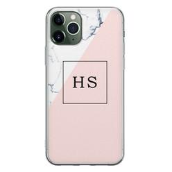 iPhone 11 Pro siliconen hoesje ontwerpen - Marmer roze grijs