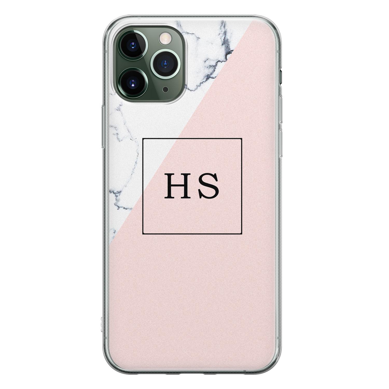 Leuke Telefoonhoesjes iPhone 11 Pro siliconen hoesje ontwerpen - Marmer roze grijs
