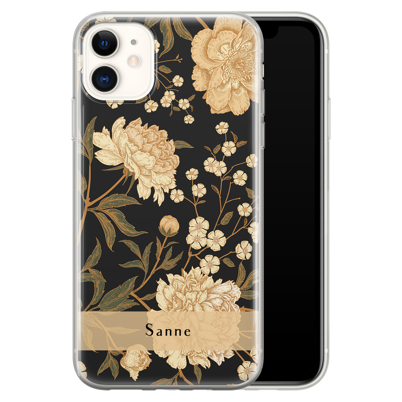 iPhone 11 siliconen hoesje ontwerpen - Golden flowers