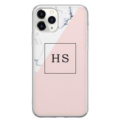 iPhone 11 Pro Max siliconen hoesje ontwerpen - Marmer roze grijs