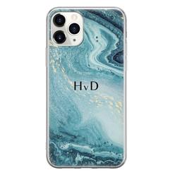 Leuke Telefoonhoesjes iPhone 11 Pro Max siliconen hoesje ontwerpen - Marmer blauw