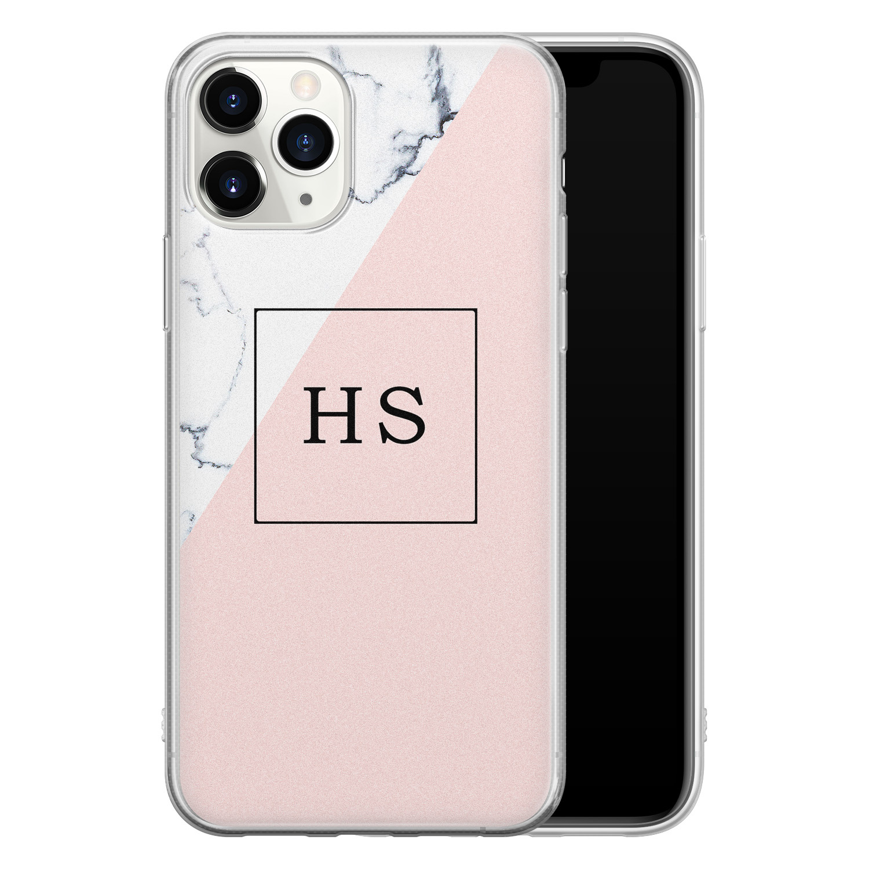 Leuke Telefoonhoesjes iPhone 11 Pro Max siliconen hoesje ontwerpen - Marmer roze grijs