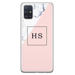 Leuke Telefoonhoesjes Samsung Galaxy A71 siliconen hoesje ontwerpen - Marmer roze grijs