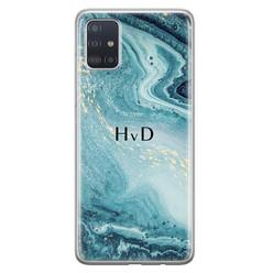 Leuke Telefoonhoesjes Samsung Galaxy A71 siliconen hoesje ontwerpen - Marmer blauw