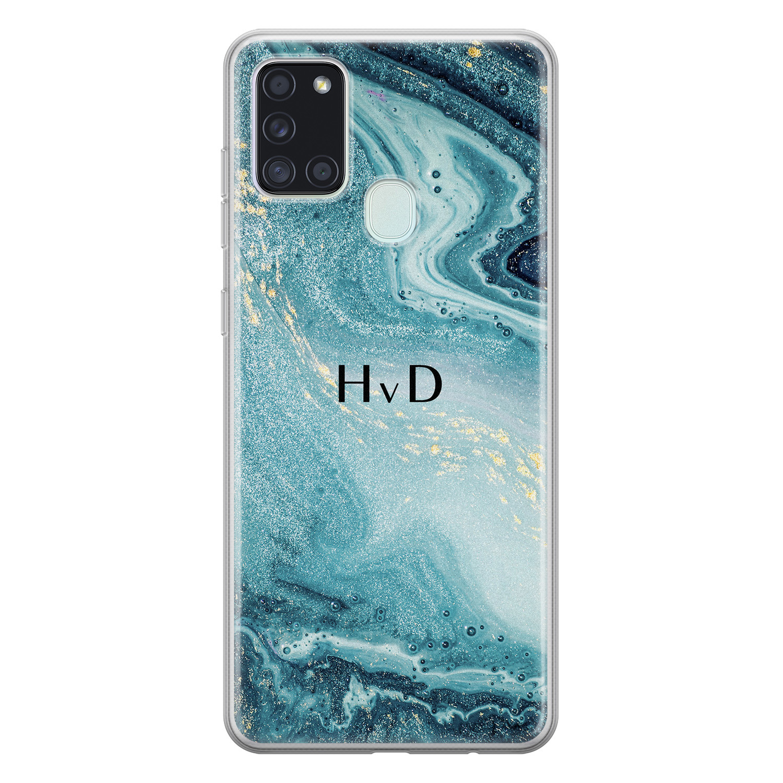 Leuke Telefoonhoesjes Samsung Galaxy A21s siliconen hoesje ontwerpen - Marmer blauw
