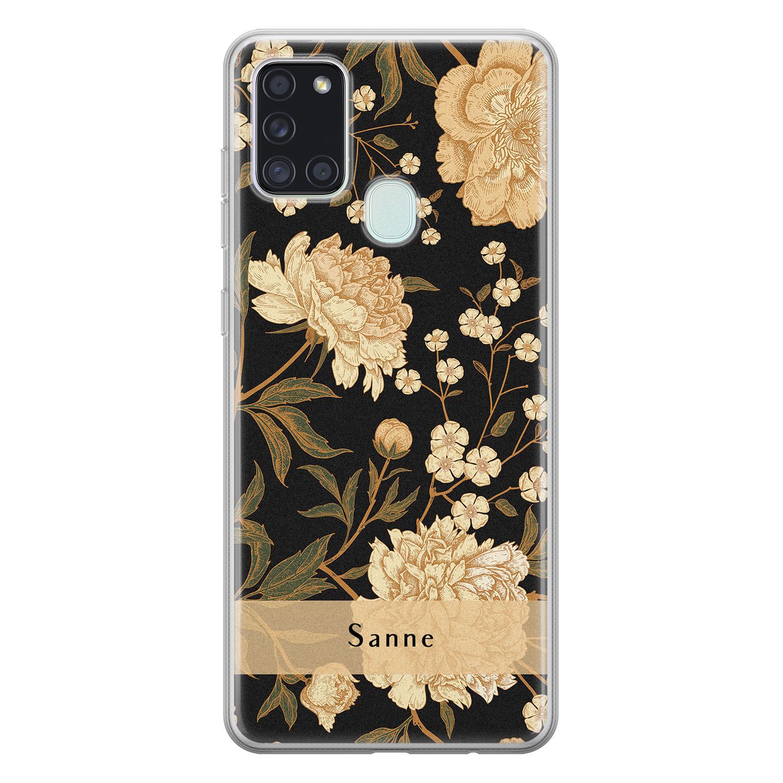 Samsung Galaxy A21s siliconen hoesje ontwerpen - Golden flowers