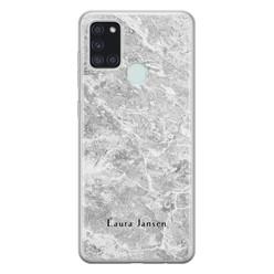 Leuke Telefoonhoesjes Samsung Galaxy A21s siliconen hoesje ontwerpen - Marmer grijs