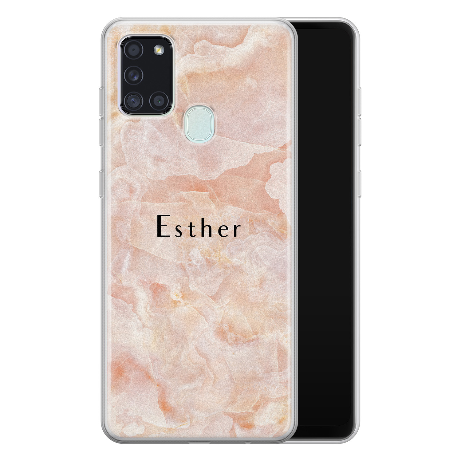 Samsung Galaxy A21s siliconen hoesje ontwerpen - Marble sunkissed