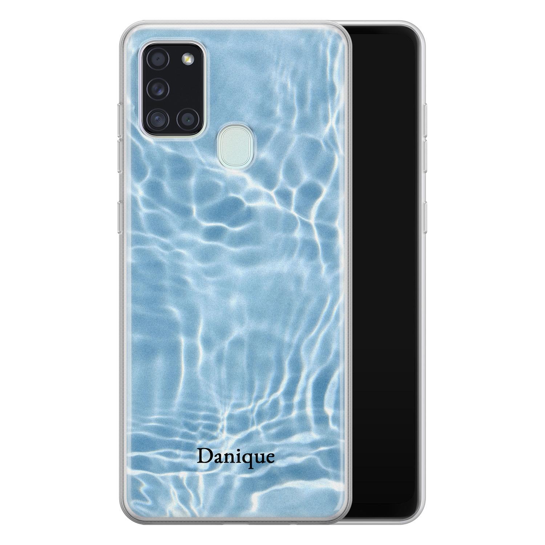 Leuke Telefoonhoesjes Samsung Galaxy A21s siliconen hoesje ontwerpen - Water blue