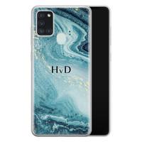 Samsung Galaxy A21s siliconen hoesje ontwerpen - Marmer blauw