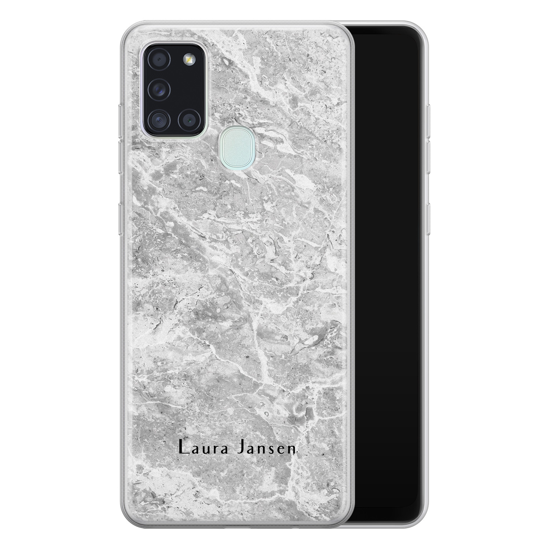 Samsung Galaxy A21s siliconen hoesje ontwerpen - Marmer grijs