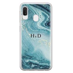 Samsung Galaxy A20e siliconen hoesje ontwerpen - Marmer blauw