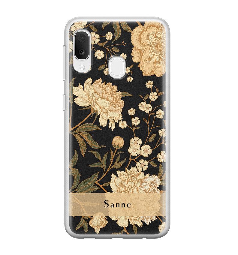 Samsung Galaxy A20e siliconen hoesje ontwerpen - Golden flowers