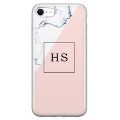 iPhone SE 2020 siliconen hoesje ontwerpen - Marmer roze grijs