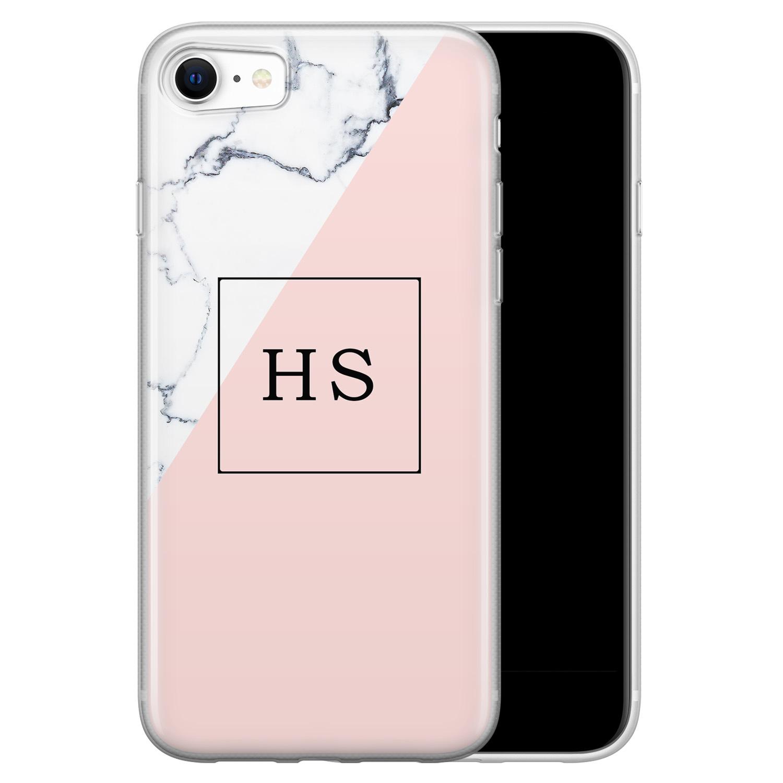 Leuke Telefoonhoesjes iPhone SE 2020 siliconen hoesje ontwerpen - Marmer roze grijs