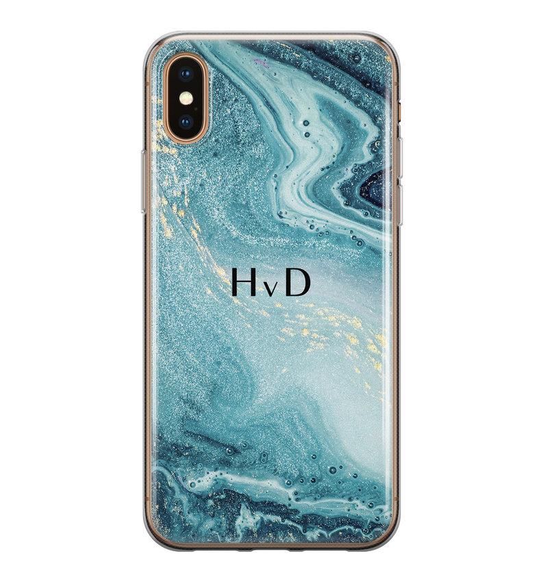 iPhone X/XS siliconen hoesje ontwerpen - Marmer blauw