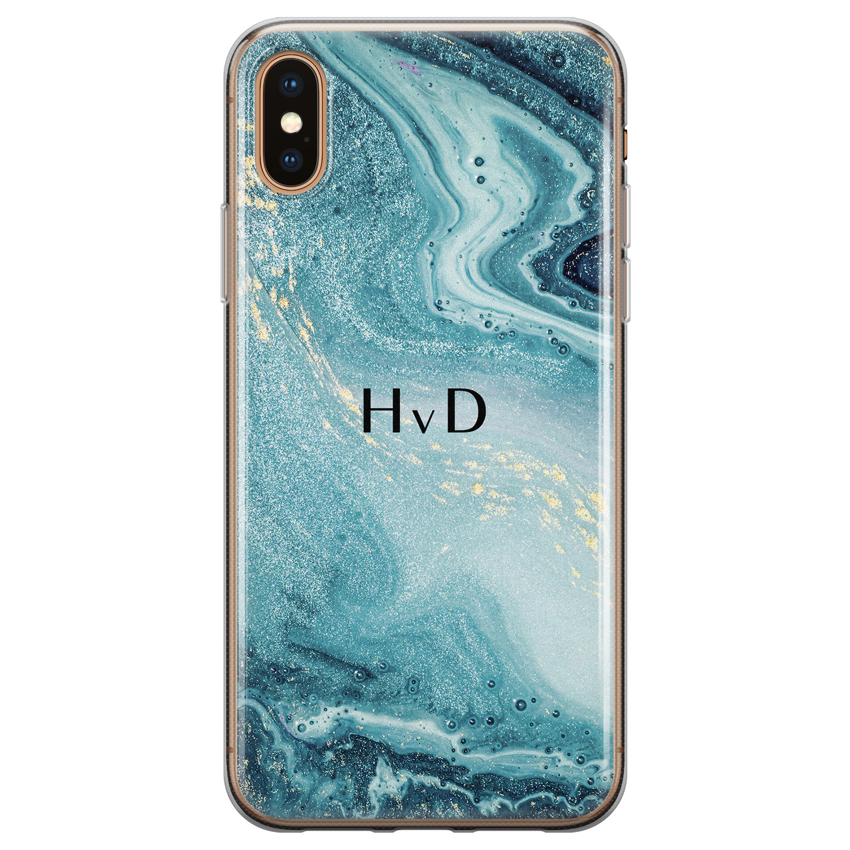 Leuke Telefoonhoesjes iPhone X/XS siliconen hoesje ontwerpen - Marmer blauw