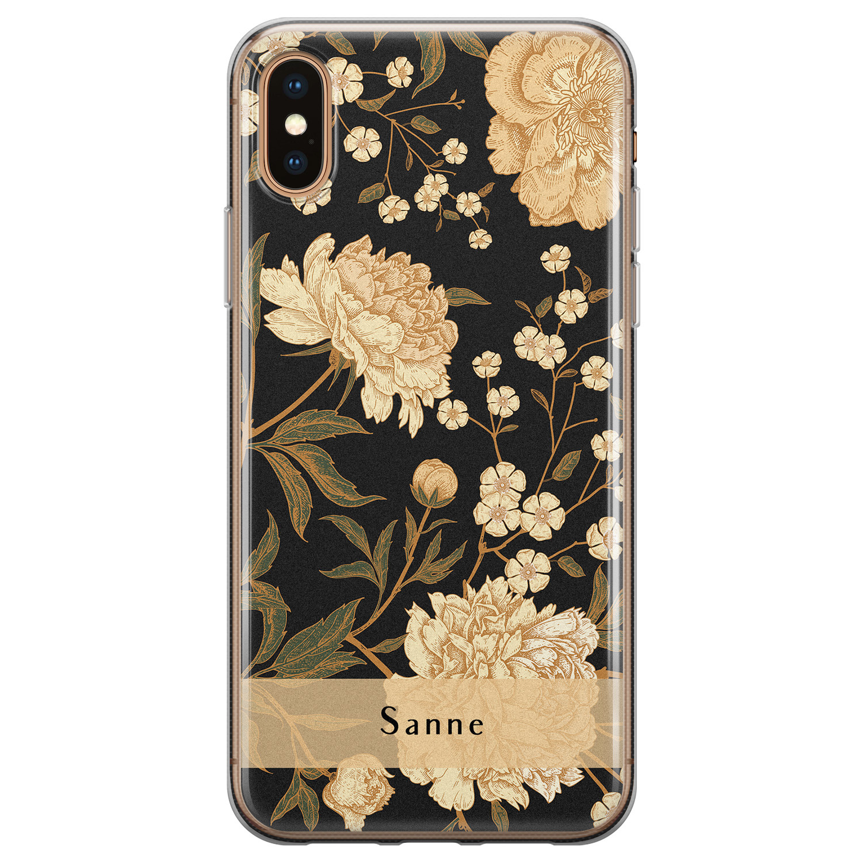Leuke Telefoonhoesjes iPhone X/XS siliconen hoesje ontwerpen - Golden flowers