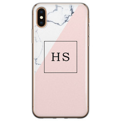 Leuke Telefoonhoesjes iPhone X/XS siliconen hoesje ontwerpen - Marmer roze grijs