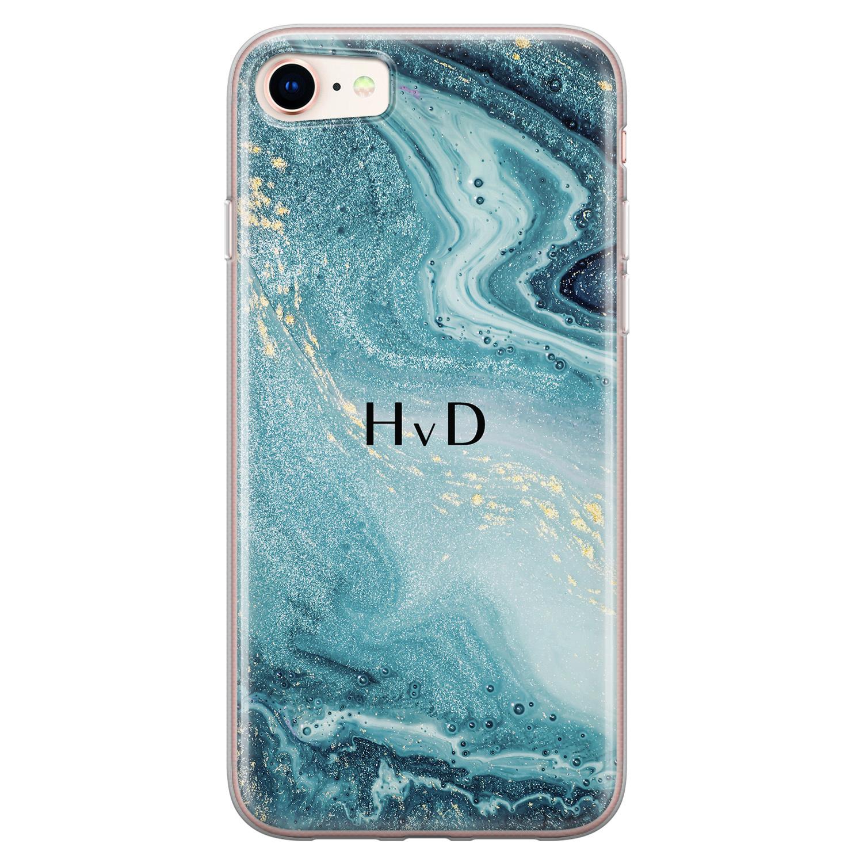 Leuke Telefoonhoesjes iPhone 8/7 siliconen hoesje ontwerpen - Marmer blauw