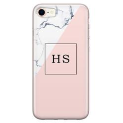 Leuke Telefoonhoesjes iPhone 8/7 siliconen hoesje ontwerpen - Marmer roze grijs