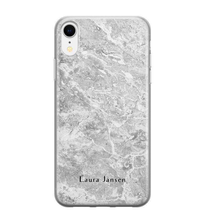 iPhone XR siliconen hoesje ontwerpen - Marmer grijs