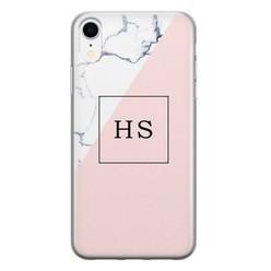 Leuke Telefoonhoesjes iPhone XR siliconen hoesje ontwerpen - Marmer roze grijs