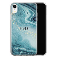 Leuke Telefoonhoesjes iPhone XR siliconen hoesje ontwerpen - Marmer blauw