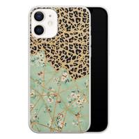 iPhone 12 siliconen hoesje - Luipaard flower print