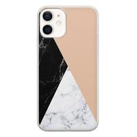 iPhone 12 siliconen hoesje - Marmer zwart bruin