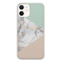 iPhone 12 siliconen hoesje - Marmer pastel mix